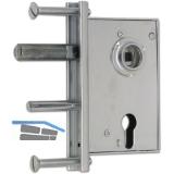 Gittertorschloss PZW, DM 50, U-Stulp, Riegel 10 x 50 mm, Stahl verzinkt