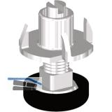 Höhenverstellschr. mit M8 Einschlagmutter, ø22.5, M8x25, KS schw./FE verzi.