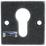 HÖRTNAGL Zylinderrosette eckig PZ,- HALL u. Söll, 52x52 mm, verz schwarz passiv