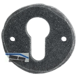 HÖRTNAGL Zylinderrosette rund PZ, - FULP u. Imst, 53 mm, verz schwarz passiv