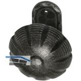 HÖRTNAGL Türknopf fest vernietet in Zierrosette oval, Stahl verz. schwarz lack.