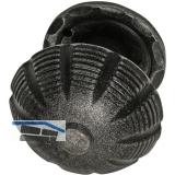 HÖRTNAGL Türknopf fest vernietet in Zierrosette rund, Stahl verz. schwarz lack.
