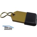 Hotelschlüsselanhänger - flach, 50 mm, mit Gummi, Aluminium gold eloxiert