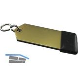 Hotelschlüsselanhänger - flach, 80 mm, mit Gummi, Aluminium gold eloxiert