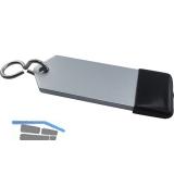 Hotelschlüsselanhänger - flach, 80 mm, mit Gummi, Aluminium silber eloxiert
