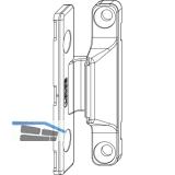 MACO Anpressverschluss, Flügel-und Rahmenteil Holz f. Ü-Dichtung, silber (55028)