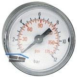 Druckluft Manometer 40 mm 0 - 10 bar mit Außengewinde hinten 1/8\