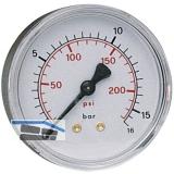 Druckluft Manometer 63 mm 0 - 16 bar mit Außengewinde hinten 1/4\