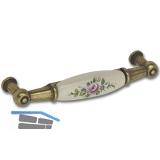 Griff Rose Breite 107 mm, Porzellan/ZN elfenbein/altvermessingt