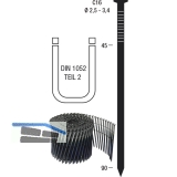 Nagelrollen C16 2,5 x 65 mm HBK blank geharzt Drahtgebunden 16 Grad