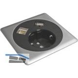 Steckdosen-/Datenbox Netbox Point 230 V belgische Norm, schwarz