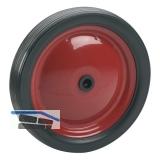 PVC-Rad mit Stahlfelge rot und Rillenprofil 130 x 21 x 12 mm Nabenbreite 34 mm
