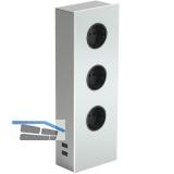 Power Turm G Edelstahl/Glas weiß, 3x Schukosteckdose, 2 x USB-Ladebuchse