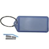 Schlüsselanhänger -  mit Papiereinlage, Kunststoff transparent blau