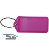 Schlüsselanhänger -  mit Papiereinlage, Kunststoff transparent pink