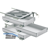HETTICH SYSTEMA TOP 2000 Container-Set Silent System, Teilauszug, ET 530 mm, alu