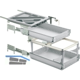 HETTICH SYSTEMA TOP 2000 Container-Set Sil Sys,Voll-/Überauszug,ET 530,alu