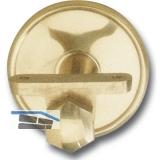Stiegengriffstütze m. Winkel, Ros. ø 70 mm, Wandab. 65 mm, Messing poliert