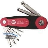 Sechskant Stiftschlüssel mit Kugelkopf im Klapphalter Serie 472 7-teilig