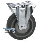 Transportgeräte-Bockrolle TPE-Lauffläche Kugellager  80 x 32 mm/Platte 105x85 mm