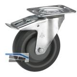 Feststell-Transportgeräte-Lenkrolle mit Kugellager  80 x 32 mm/Platte 105x85 mm
