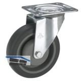 Transportgeräte-Lenkrolle TPE-Lauffläche Kugellager  80 x 32 mm/Platte 105x85mm