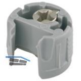 Einbohrteil PK2, Tablarstärke 16 mm, Bohr ø 18 mm,mit Exzenter,Kunststoff grau