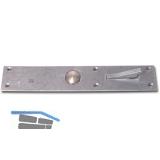 Tasterschnapper mit Messingtaster, Platte 192 x 35 mm, Stahl verzinkt