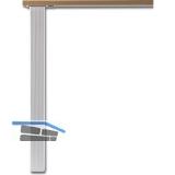 Tischfuß Quadra 60 x 60 mm, Länge 705 mm, Aluminium silber gerillt