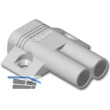 BLUM BLUMOTION Doppel-Kreuzadapterplatte, Kunststoff RAL 7036 platingrau