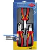 KNIPEX Zangen-Set VDE Elektro-Paket 3-tlg.Kombi-Flachrundzange, Seitenschneider