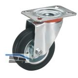 Vollgummi-Lenkrolle mit Rollenlager  80 x 25 mm/Platte 100 x 85 mm