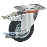 Vollgummi-Feststell-Lenkrolle mit Rollenlager  80 x 25 mm/Platte 100 x 85 mm