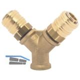 Druckluft Verteiler Messing mit IG 3/8\ und 2 Euro Kupplungen