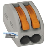 Verbindungsklemme WAGO 222 2x4Qmm grau mit Betätigungshebel