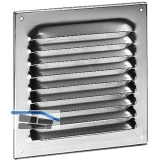 Wetterschutzgitter mit Fliegenschutz, 200 x 200 mm, Aluminium natur eloxiert