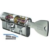 Einbaudoppelzylinder key Tec X-tra,Lagerprogramm, 28/28, Messing vernickelt matt