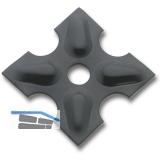 Zierrosette (Pfettenscheibe) 80x80x4 mm, Bohr-ø 13 mm,Stahl schwarz pulverbesch.