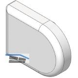 BLUM CLIP top Topfabdeckung - Glastürscharnier D-Form, Kunststoff vergoldet