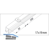 EKU CLIPO 16 H Einfach- Laufschiene mit Drehriegel, Länge 2500, Aluminium
