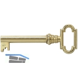 JuNie Möbelschlüssel 1, Bartbreite 6 mm, Barthöhe 8 mm, vermessingt