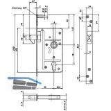 Schiebetürschloss mit Hakenriegel, PZW, DM 65, VK 9 mm, eckig, Edelstahl