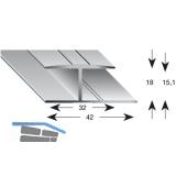 Gleitabschlussprofil H Alu silber eloxiert 15/2700 mm