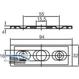 Schließblech für Eckschloss US 10 Mundus, verstellbar 2 tlg. Edelstahl (05.190)