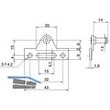 Adapter NSD für Alurahmenprofil schmal, Stahl vernickelt