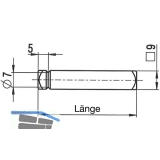 Drückerstift einseitig für Standflügel 7676, 55 mm, Stahl verzinkt