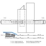 Drückerstift geteilt 78430, LI 25 x LA 45 mm, VK 9 mm, Stahl verzinkt
