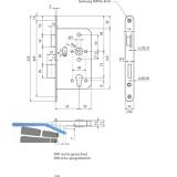 Dreifallenhauptschloss 1020 PZ, links, rund, DM 65 mm, Edelstahl