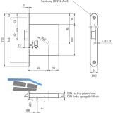 Zusatzfalle BHM 1030 1-flg. EN 179, DM 65, links, Stulp 170 x 24 mm, Edelstahl