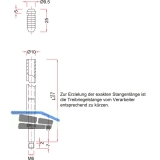 Treibriegelstange BMH 1101, 1385 mm, m. Gleitstopfen f. oben, Stahl verzinkt